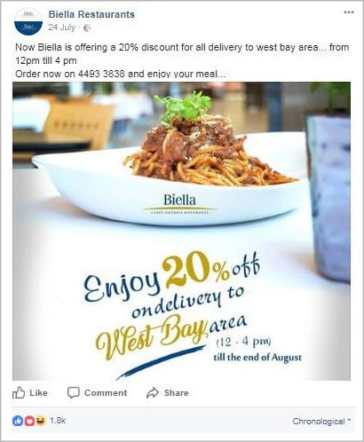 Facebook Basic Ad with with an engaging image and deal